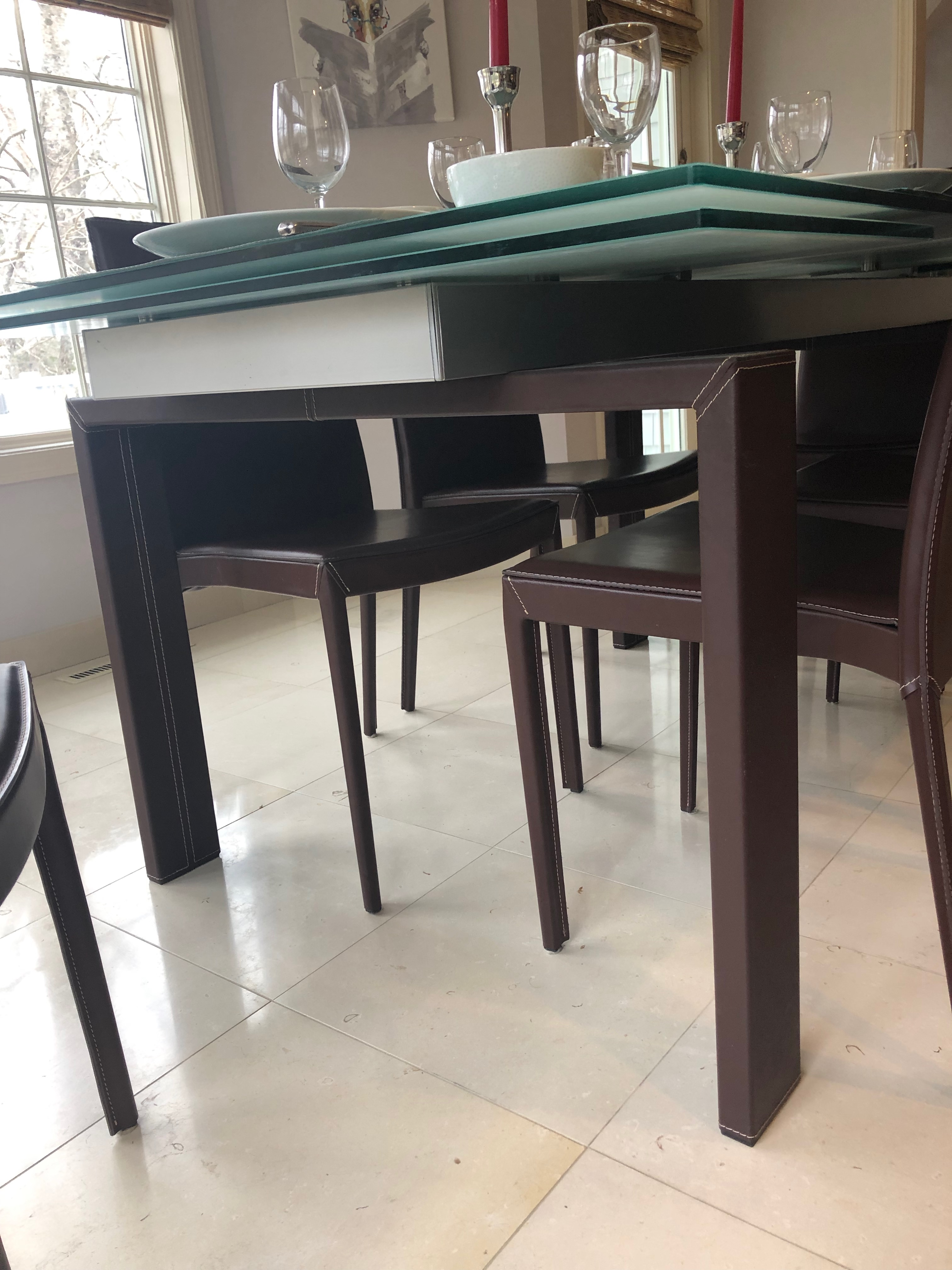 Calligaris Hyper Frosted Gl Extending Dining Table